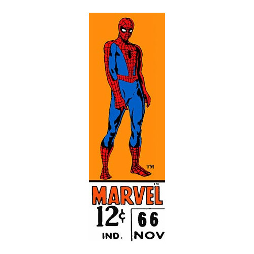 iCanvas Marvel Comics (Retro) - Book Spider-Man Price Tag Panoramic Vintage Advertisement on Canvas