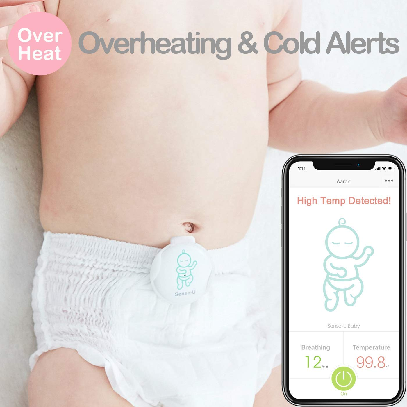 2019 Updated Version Sense-U Baby Breathing /& Rollover Baby Movement Monitor