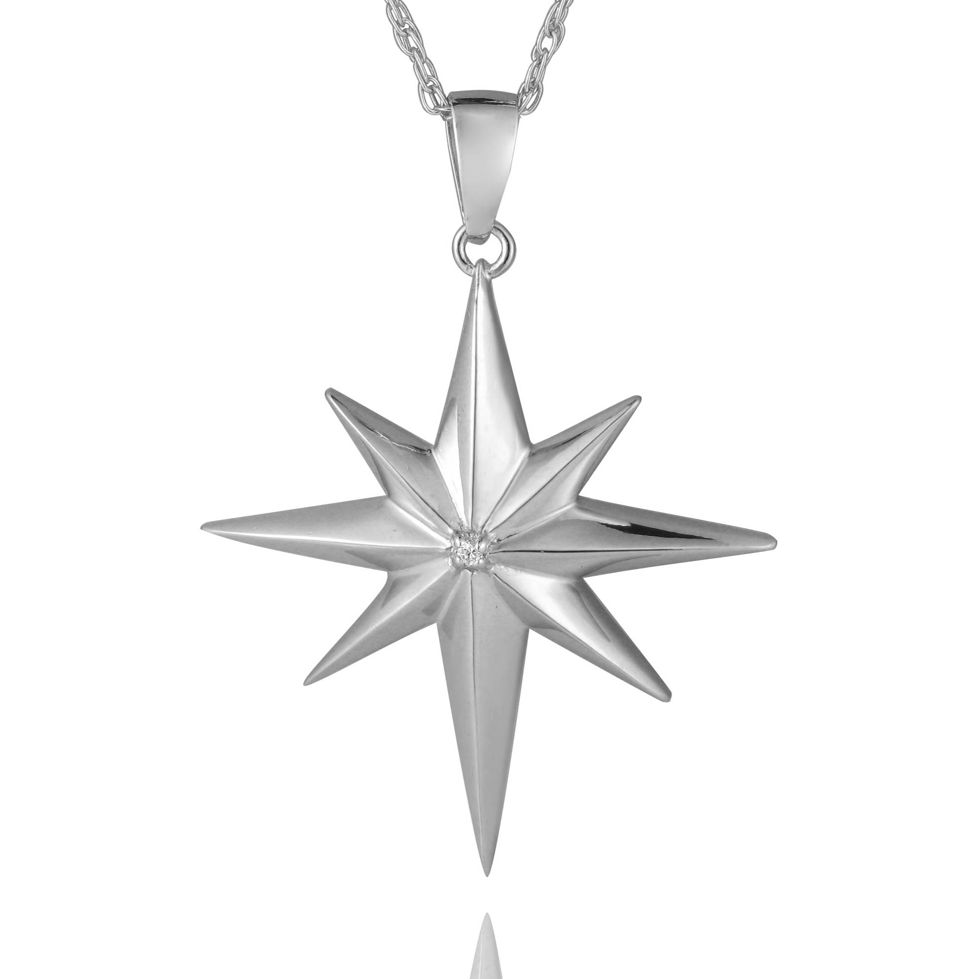 your customized set pendant dipped one way petalbox silver compass light own star sterling radiant sun north necklace