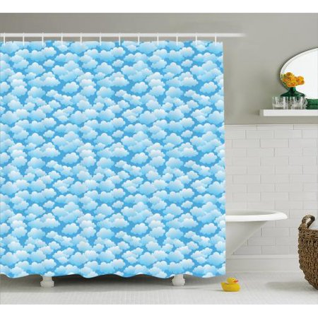 Cloud Shower Curtain Puffy Balls Inspired Floating Cumulus Formation Cartoon Design Fabric Bathroom Set