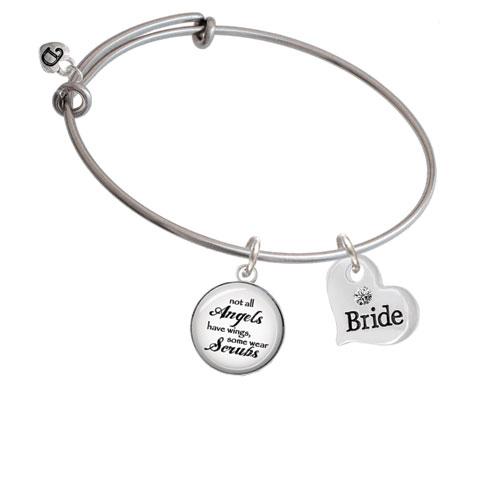 Large Bride Heart Angels Wear Scrubs Bangle Bracelet