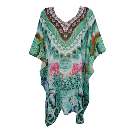 Short Caftan - Mogul Ladies Caftan Short Dresses Swimsuit Coverup Holiday Jeweled Print Green Kaftan Tunic Sexy Kimono Sleeves Resort wear One Size