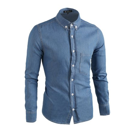 Men Button-Collar Point Collar Slim Fit Chambray Denim Shirt Blue L - image 1 of 7