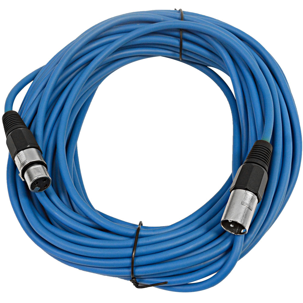 Seismic Audio  Blue 50' XLR Microphone Cable Snake Patch Blue - SAXLX-50Blue