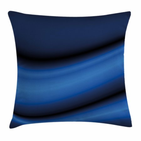 Dark Blue Throw Pillow Cushion Cover, Abstract Wavy Curvy Bold Color Bands Soft Blurred Digital Ombre, Decorative Square Accent Pillow Case, 18 X 18 Inches, Dark Blue Light Blue Black, - Ombre Black To Blue