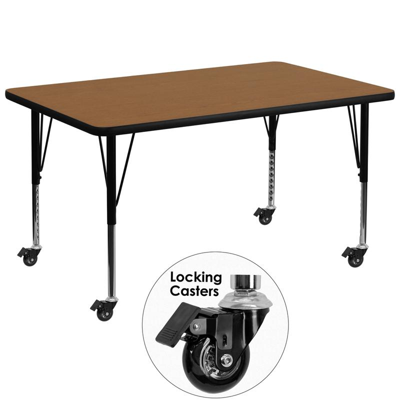 Mobile 36''W x 72''L Rectangular Oak Thermal Laminate Activity Table - Height Adjustable Short Legs