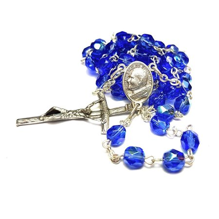 Made In Italy Blue Rosary Blessed by Pope Francis Vatican Rome Holy Father Crystal Glass Beads with Silver Toned Base Papal Cross Crucifix - Holy Rosary