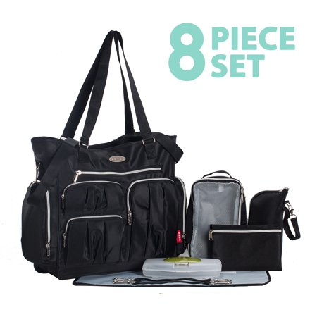 Times Square 8 pieces Diaper Tote Bag set (Classic