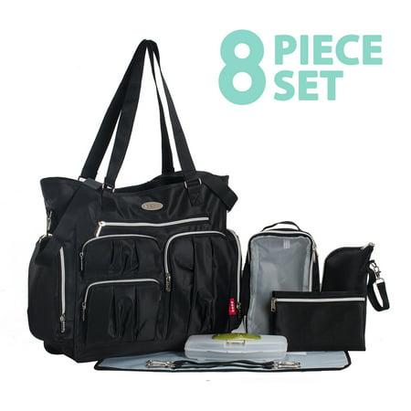 Times Square 8 pieces Diaper Tote Bag set (Classic Black) (8 Piece Diaper Bag)