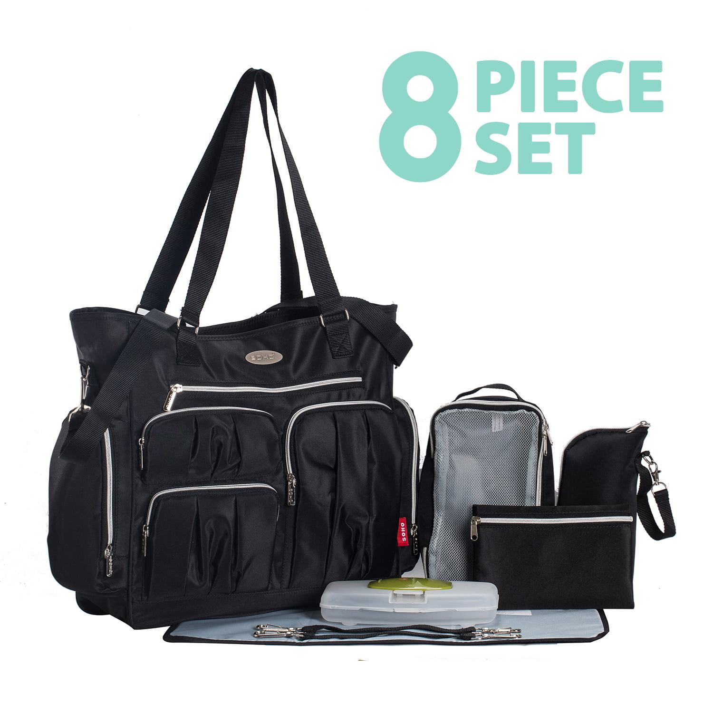 Times Square 8 pieces Diaper Tote Bag set (Classic Black)