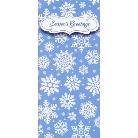 Coupon Holders (Designer Greetings White Snowflakes on Blue Christmas Money & Gift Card)