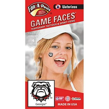 Fan A peel University of Georgia UGA Waterless Peel and Stick Temporary Spirit Tattoos 4-Piece Bulldog Head - Georgia Bulldog Tattoos