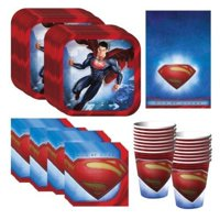 Superman Party Supplies Pack Including Plates, Cups, Napkins and Tablecover 16 Guests
