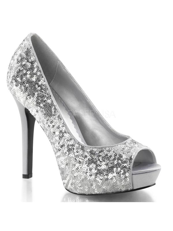 "LUMINA27SQ/S Fabulicious Shoes 4 3/4"" Lumina SILVER Size: 10"