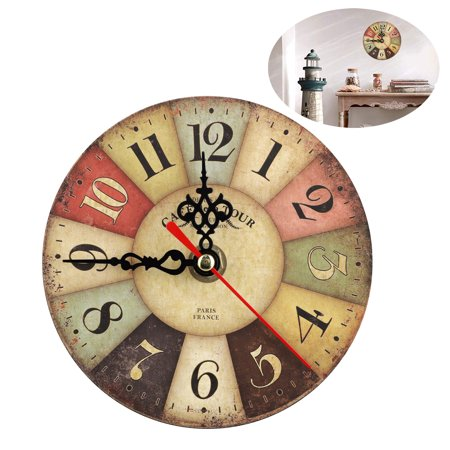 12cm Wall Clock Silent Non Ticking Rustic Wall Clocks Large Decorative Quartz Movement Decorated Living Room, Kitchen ()