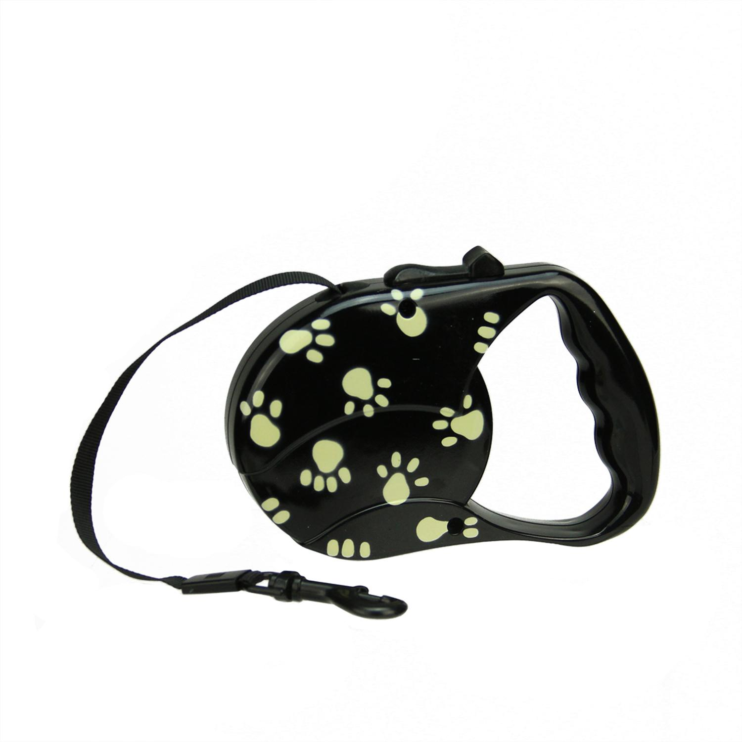 Black and Beige Paw Print Patterned Retractable Dog Leash - 33 Pound Limit