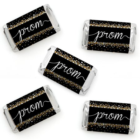 Prom - Mini Candy Bar Wrapper Stickers - Prom Night Party Small Favors - 40 Count - Prom Favors