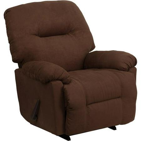Flash Furniture Contemporary Microfiber Chaise Rocker Recliner  Calcutta Chocolate  Box 1 Of 2