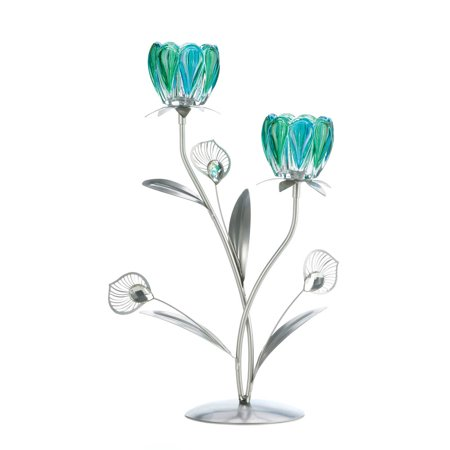Decorative Candle Holders, Metallic Rod Double Peacock Flowered Candle Holders