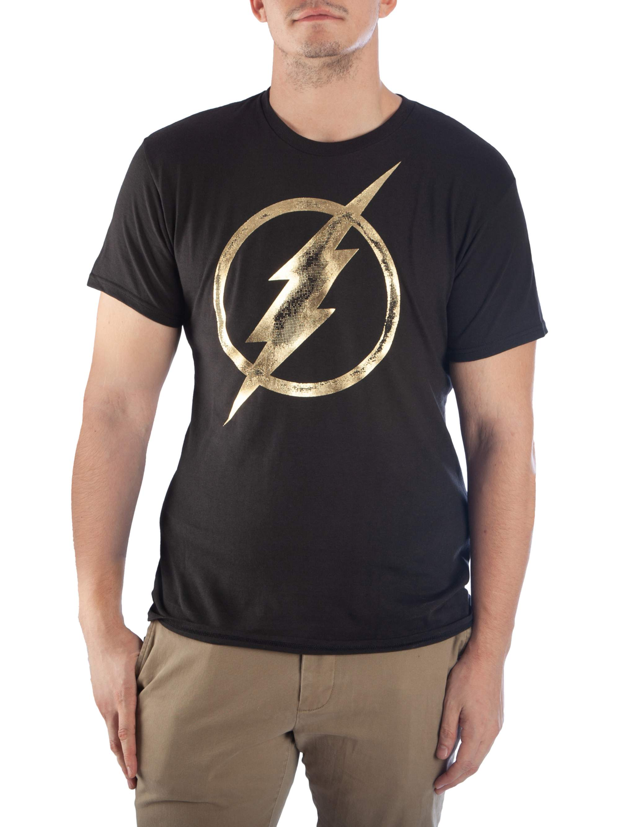 Flash Men's Gold Foil Short Sleeve Graphic T-Shirt, up to Size 2XL