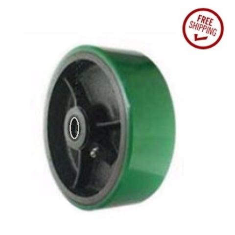 """DuraStar 6"""" x 2"""" Polyurethane Wheel with 1/2"""" ID Green Hardwood Floor Safe (One)"""