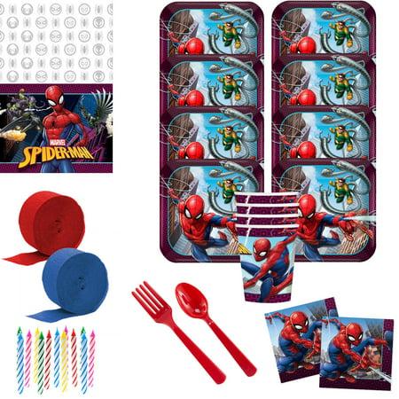 Spider Man Party Supplies (Spiderman Webbed Wonder Deluxe Tableware Kit (Serves)