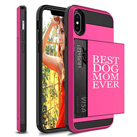 Wallet Credit Card ID Holder Shockproof Protective Hard Case Cover for Apple iPhone Best Dog Mom Ever (Hot-Pink, for Apple iPhone Xs