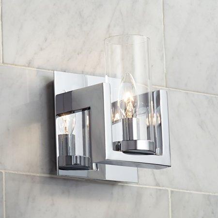 Possini Euro Design Modern Wall Light Sconce Chrome Hardwired 8