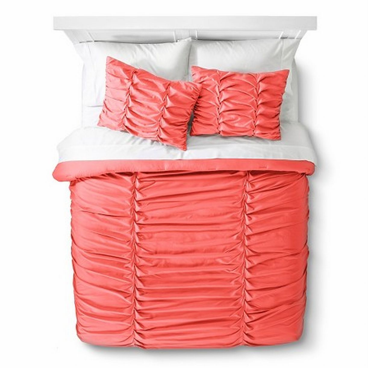 Xhilaration Full Queen Peach Ruched Comforter Set with Shams 3 Pc