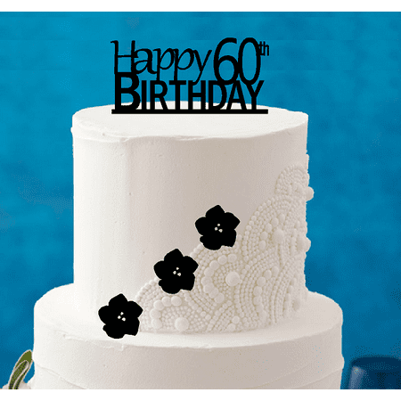 Happy 60th Birthday 5 X 4inch Number Elegant Cake Topper