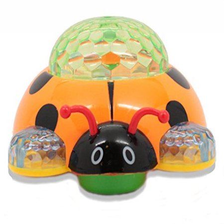 Techege Battery Powered Lady Bug Toy- Flashing Spinning Lights, Music, Moves Around on Its Own and Changes Directions When It Touches Something - Great Gift Idea Sure to Keep Kids Entertained for