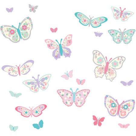WallPops Flutterby Butterflies Applique Kit (Pink Butterfly Wall)