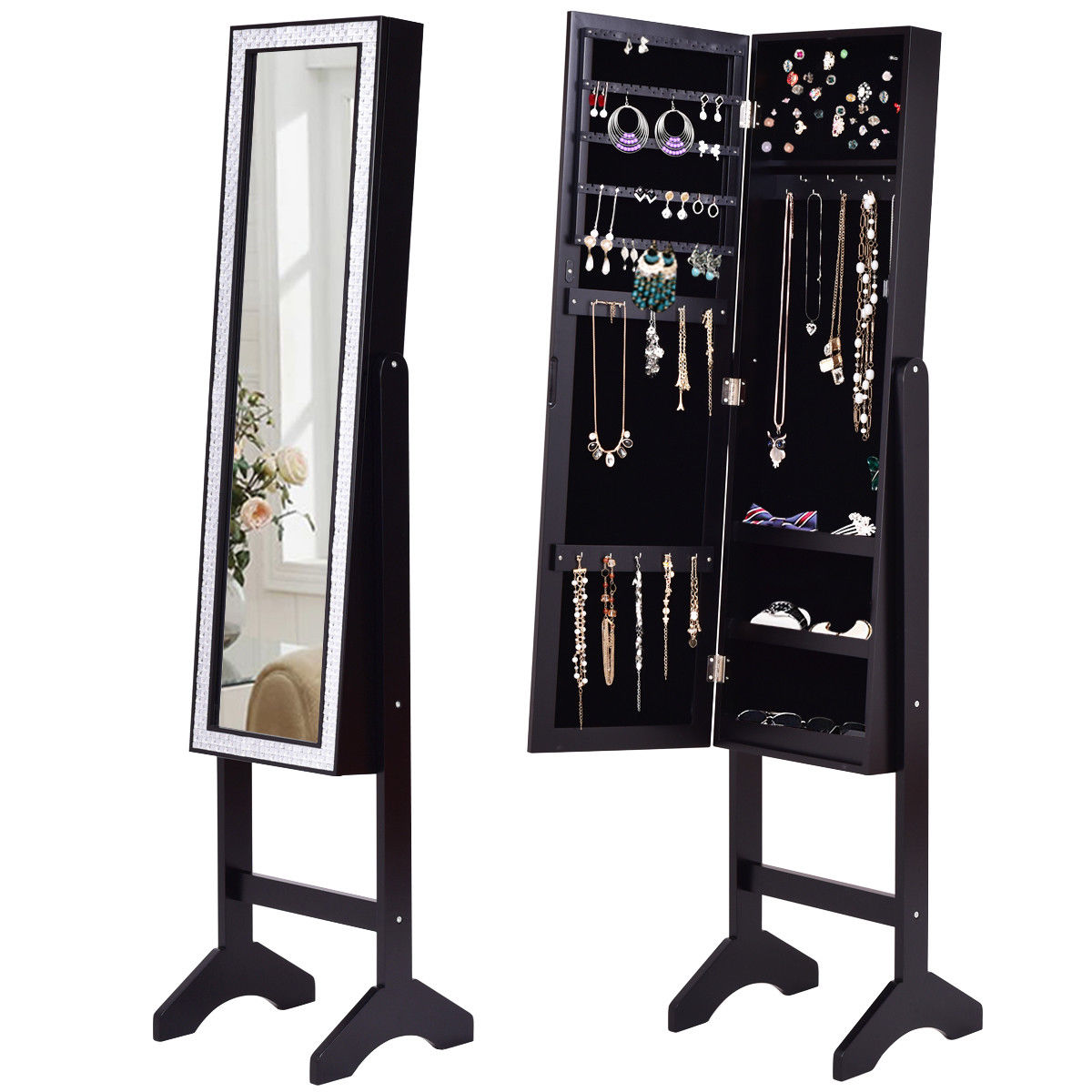 Gymax Black Mirrored Jewelry Cabinet Armoire New