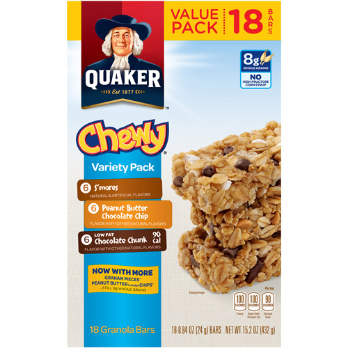 Quaker Chewy Variety Pack Granola Bars, 18 ct