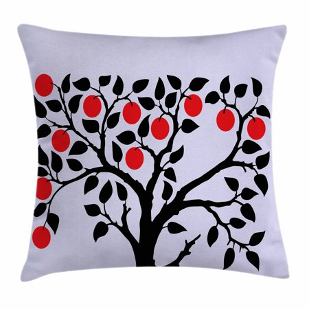 Apple Throw Pillow Cushion Cover, Black Tree with Ripe Red Nutritious Fruit Flourishing Nature Garden Forest Art, Decorative Square Accent Pillow Case, 18 X 18 Inches, Lilac Black Red, by Ambesonne