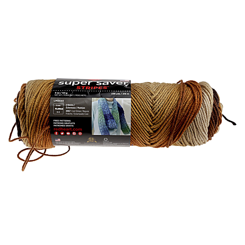 Red Heart Super Saver Yarn-Latte Stripe - Walmart.com