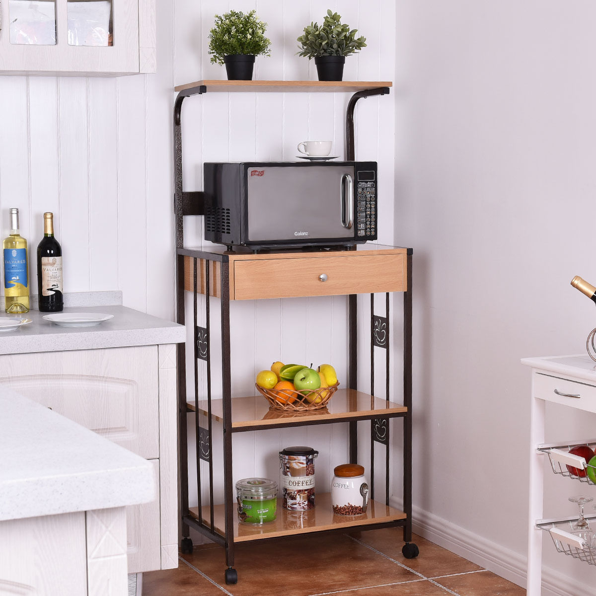 Costway 59 Bakers Rack Microwave Stand Rolling Kitchen