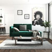 DHP Nola Mid Century Modern Upholstered Daybed/Chaise, Green Velvet