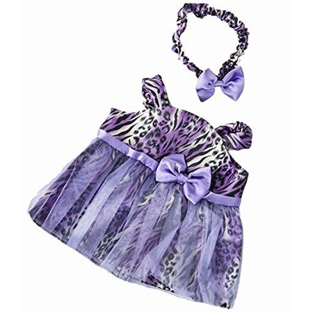 Dressed Teddy Bear - Purple Leopard Dress with Headband Teddy Bear Clothes Outfit Fits Most 14