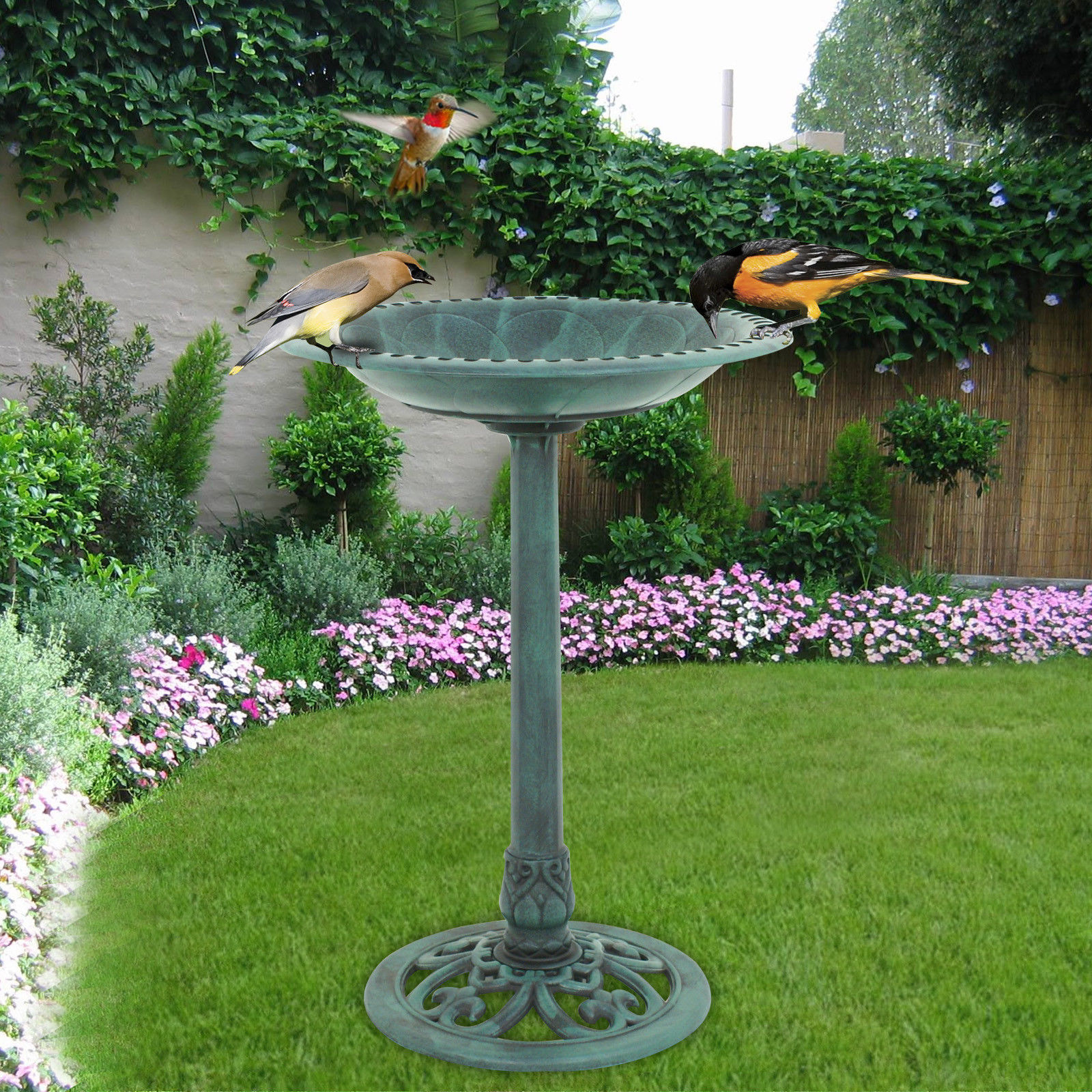 Zeny Birdbath Height Pedestal Bird Bath Outdoor Garden Decor Vintage Yard Art--Verdigris