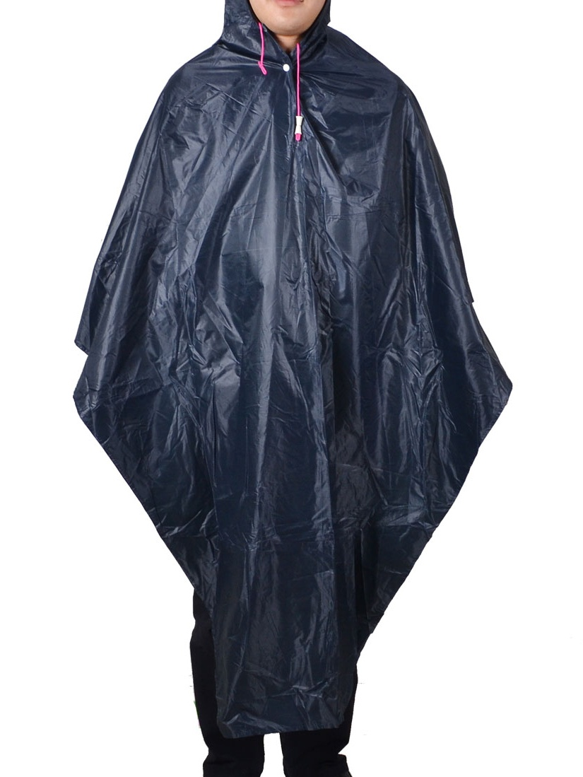 Drawstring Strap Water Resistant Bicycle Rain Poncho Coat Raincoat Dark Blue by Unique-Bargains