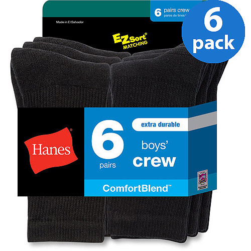 Hanes Boys' Comfortblend Black Crew Socks, 6 Pack