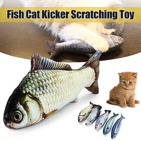 Realistic Fish Cat Kitten Kicker Scratching Chewing Toy Cotton Catnip Zipper Cat Toys,Catnip Simulation Plush Fish Toy
