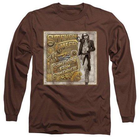 Steven Tyler Shirt (Trevco Sportswear BAND401-AL-2 Steven Tyler & Somebody From Somewhere-Long Sleeve Adult 18-1 T-Shirt, Coffee -)