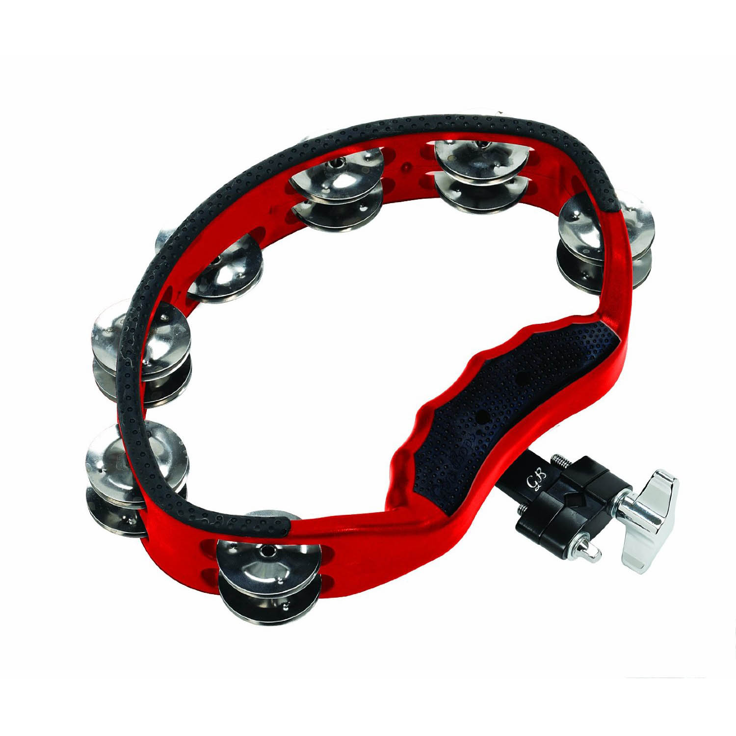 Gon Bops Tambourine with Quick Release Mount, Red