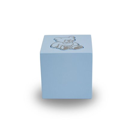 Wood Cremation Urn - Extra Small 20 Pounds - Baby Blue Teddy Bear Infant - Engraving Sold Separately