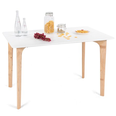 Gymax Mid-Century Modern Dining Table Rectangular Top 47.5'' x 27.5'' w/ Wood Legs White ()