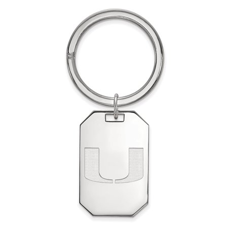 Logoart Sterling Silver University Of Miami Key Chain Ss026umf