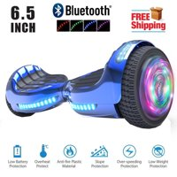 Bluetooth 6.5 Inch Hoverboard Self-Balancing Scooter LED Light Flash Wheel UL2272 Certified Chrome Blue