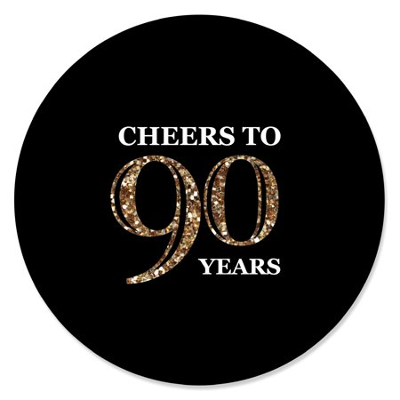 Adult 90th Birthday - Gold - Birthday Party Circle Sticker Labels - 24 Count](90th Birthday Colors)